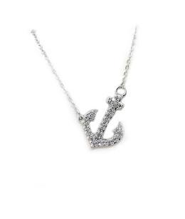 10K Diamond Offset Anchor Necklace