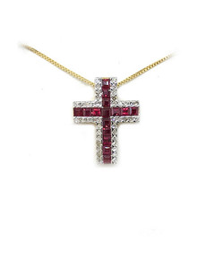 14K Ruby Diamond Cross