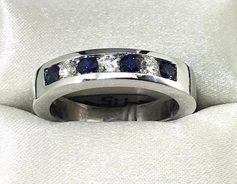14K Diamond Sapphire Ring