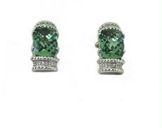Green Amethyst Diamond Earrings