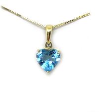 14K Blue Topaz Heart Pendant