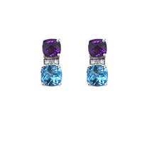 14K Amethyst and Blue Topaz Earrings