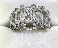 14K Diamond XO Ring