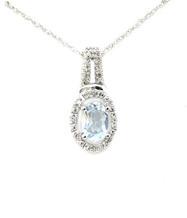 10K Aquamarine Diamond Necklace