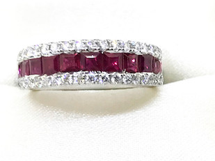 14K Diamond and Ruby Band
