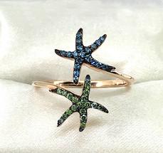 Blue and Green Diamond Seastar Ring - SOLD