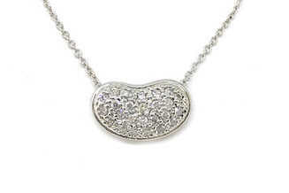14K Diamond Bean Necklace