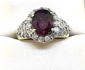 Diamond Rhodolite Ring