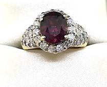 Diamond Rhodolite Ring