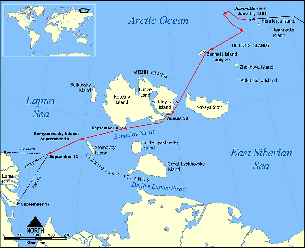 The route of the Jeannette expedition