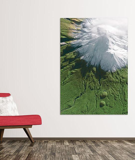 Mount Taranaki Satellite Image in Room