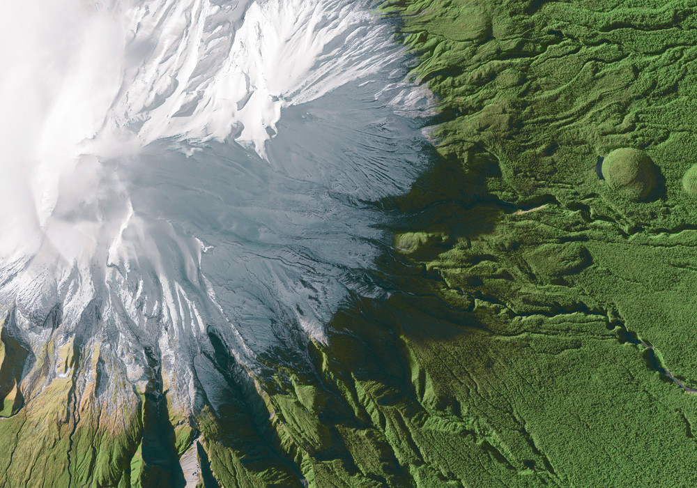 Our poster motif of Mount Taranaki ((c) eoVision / DigitalGlobe)