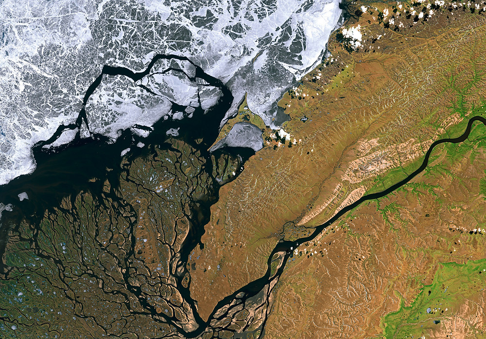 Satellite Image of Lena River Delta in Siberia