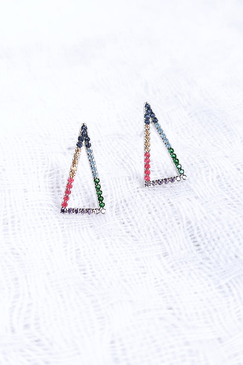 Brinco Triângulo Vazado Coloridinho