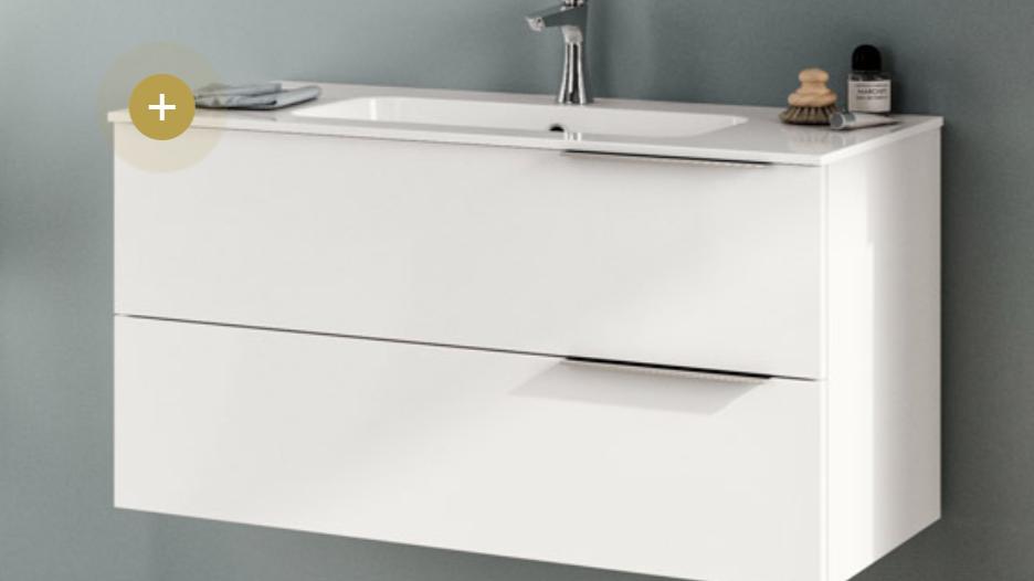 Badeværelseskab 60 cm med keramisk top Latte hvid