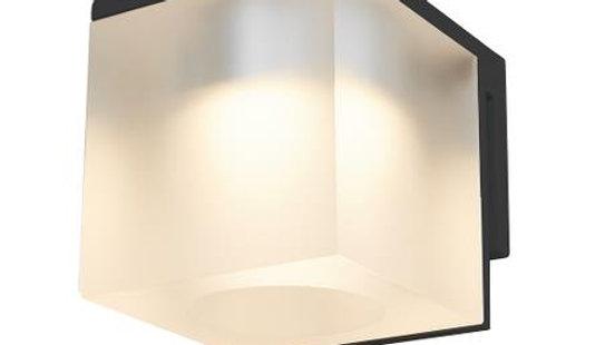 Spejllampe med isglas i sort