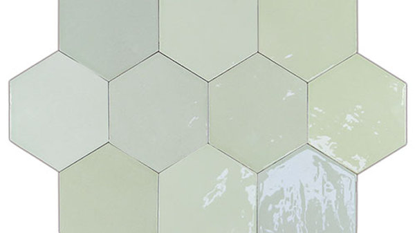 WOZE Zellige Mint Hexagon 10,8 x 12,4 cm