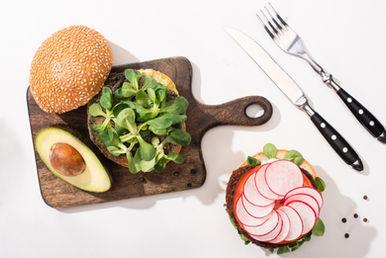 Top View Of Vegan Burgers With Microgree