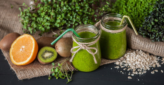 Green Smoothies With Micro Greens Kiwi A