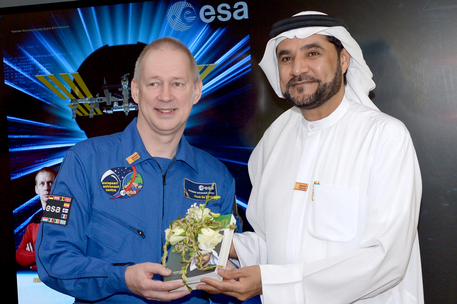 Dr. Alleem with Astronaut Frank De Winne