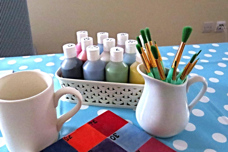 Mobile pottery painting setup