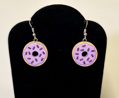 Lavender Frosted Donut Earrings