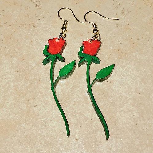 Long-stem Rose Earrings