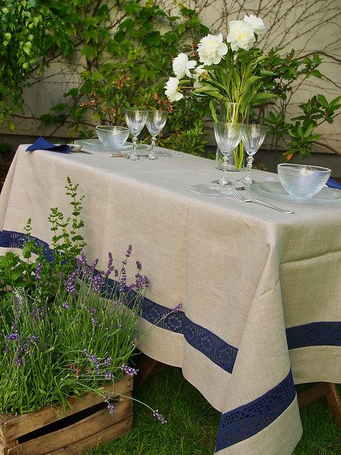 Mantel Natural con puntilla Azul Marino