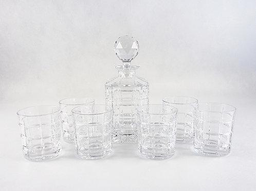 Set Licorera y 6 vasos de whisky cristal de Bohemia