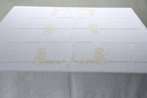 Mantel Blanco Bordados Geométricos