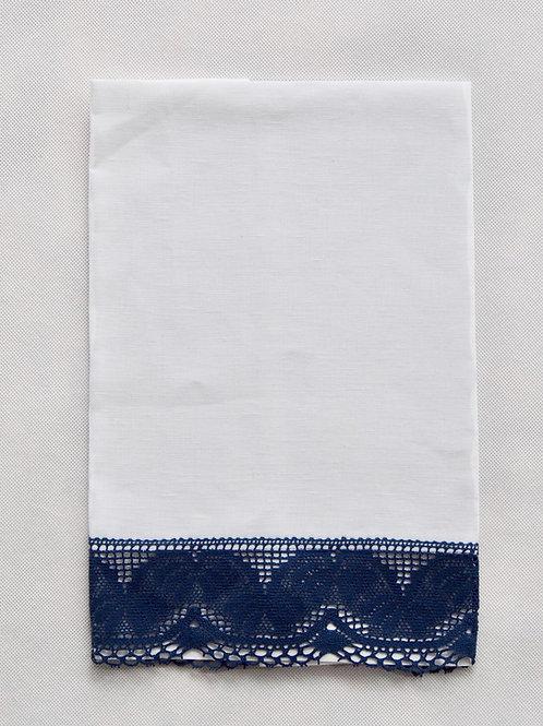 Toalla lino blanco con puntilla azul marino