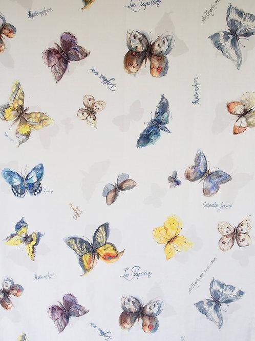 Tela Acuarela Mariposas Crudo
