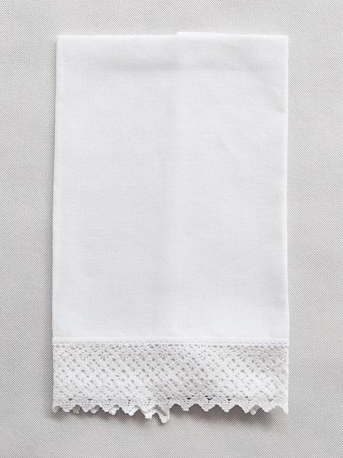 Toalla lino blanco con puntilla blanca
