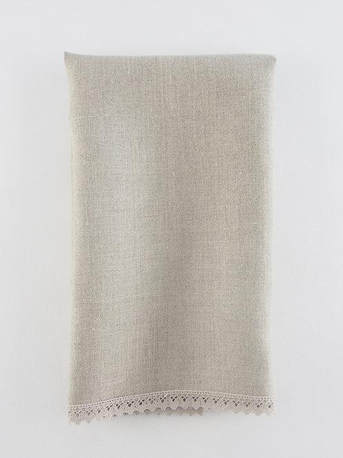 Toalla lino natural con puntilla en cuatro bordes