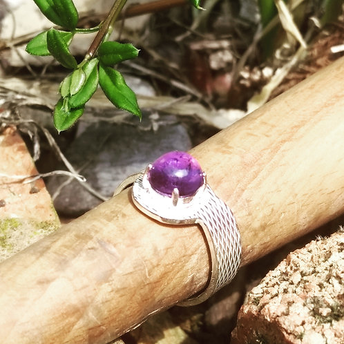 Amethyst on Recycled Silver Band