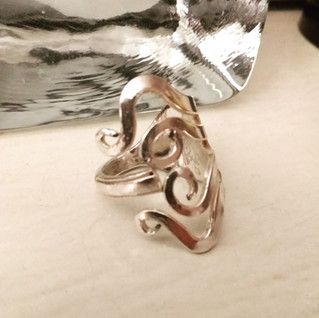 danish design silver fork ring