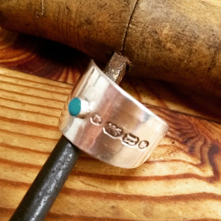 turquoise cabachon ring on spoon handle