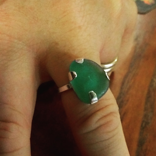 Sea Glass Silver Ring, home made claw setting