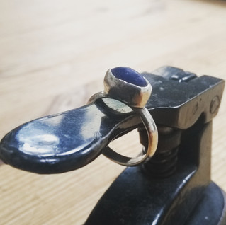 rare blue Staithes seagalss ring
