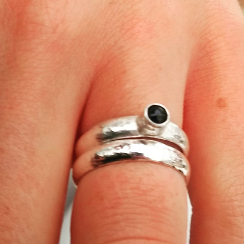 Wedding and Engagement Ring, Silver and Sapphire