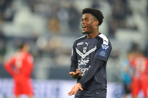Josh Maja celebrates after scoring a goal for Bordeaux