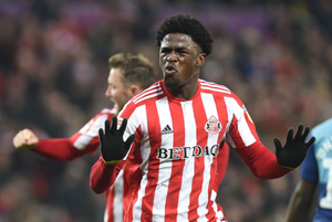 Josh Maja celebrates after scoring a goal for Sunderland in League One