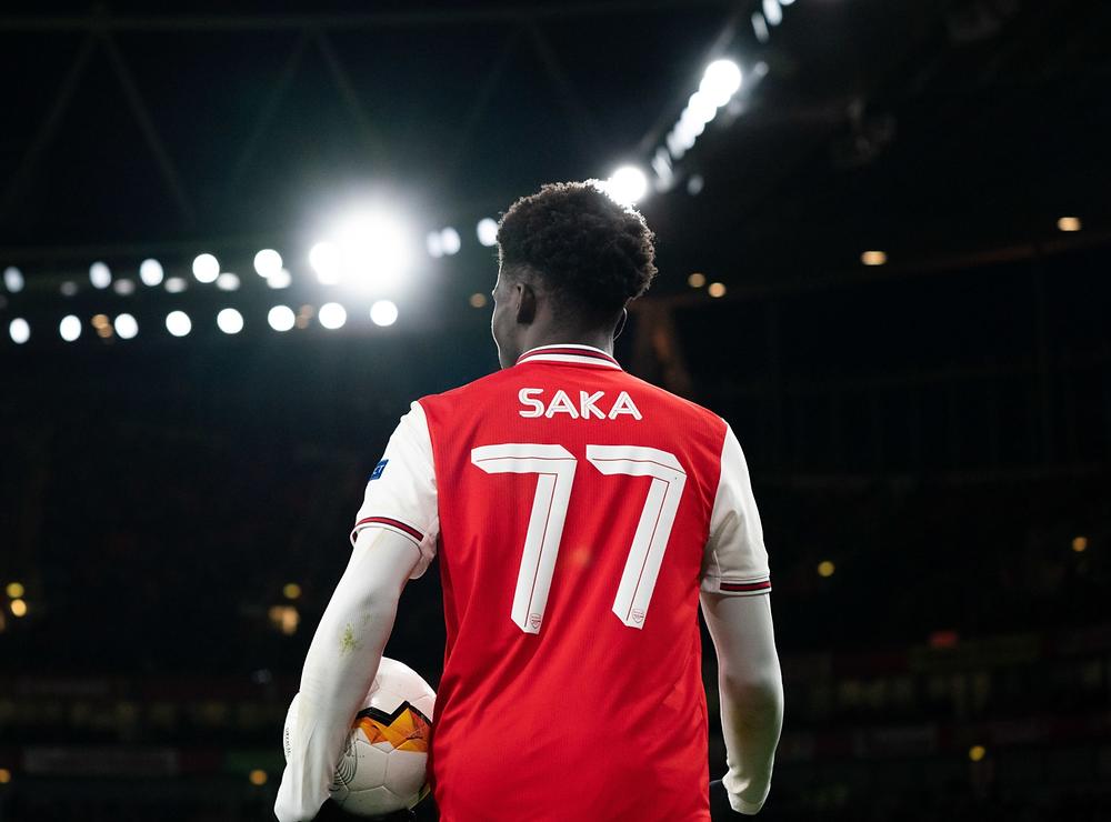 Bukayo Saka playing in the Europa League for Arsenal