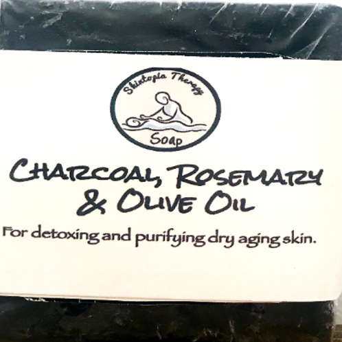 Charcoal Soap Bar With Rosemary and Olive Oil.