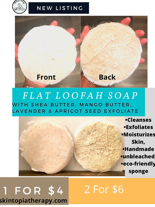 Flat Loofah Soap (With Mango Butter, Shea Butter, Lavender and Apricot Shell Se