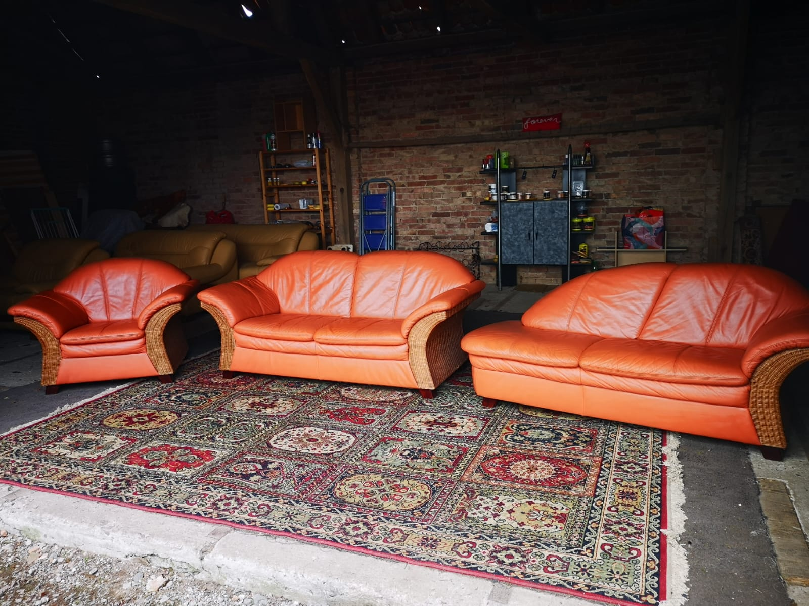 Orange rattan leather