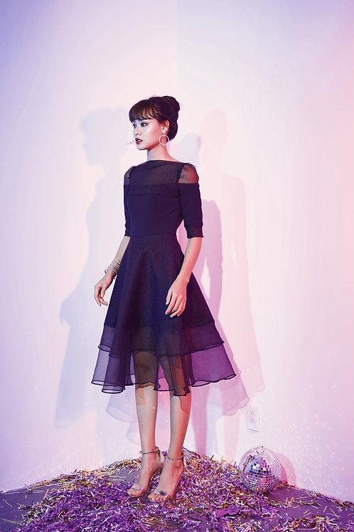 Midi Dress with Sheer Panels - Black