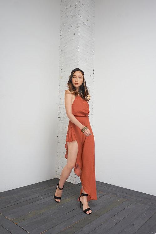 Asymmetrical Playsuit - Orange