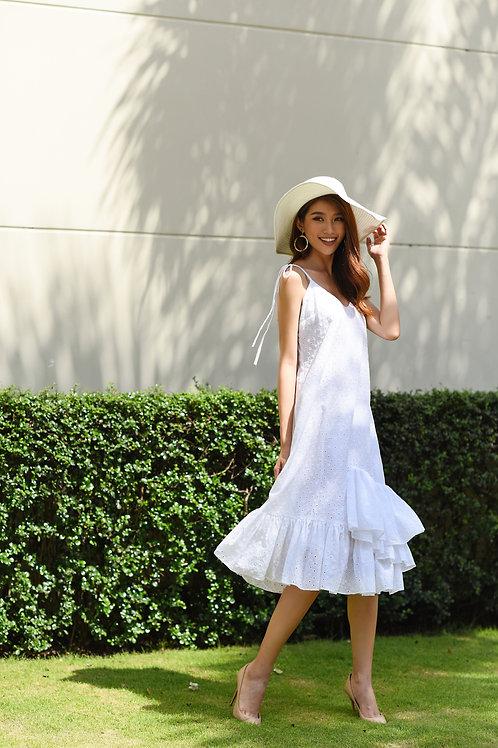 Ruffle Lace Dress - White