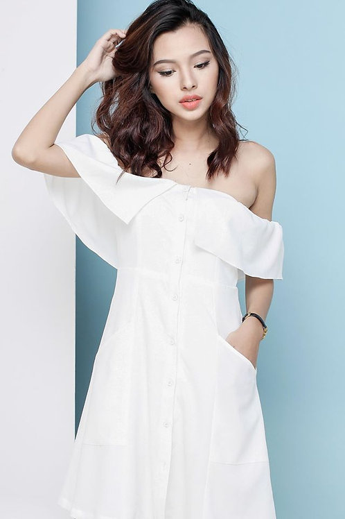 OFF-SHOULDER LINEN DRESS